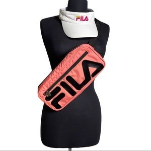 FILA Large Fanny Pack Crossbody And Visor Bundle